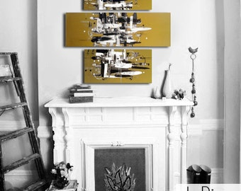 "Original abstract painting. 36x38"" Metallic gold painting. 3 piece canvas art. Large painting. Modern wall art. Fireplace decor."