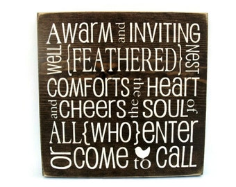 Rustic Wall Art Wood Plaque Custom Sign - Feathered Nest (#1086)