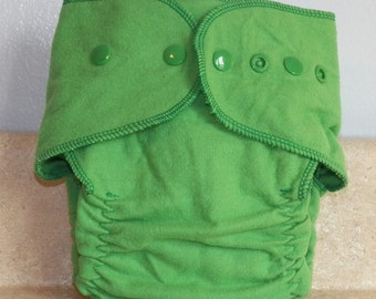 Fitted Large Cloth Diaper- 20 to 30 lbs- Kelly Green- 19004