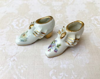 2 Darling Tiny Limoges Porcelain Miniature Shoes with Hand Painted Flowers