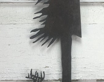 Metal Whitetail Scene Plasma Cut by Hand Repurposed Hand Saw, Wall Decor, Art