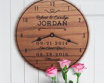 Special Dates - Marriage Anniversary Dates - Engagement Dates - She Said Yes - Custom Names - Proposal Date Anniversary Clock