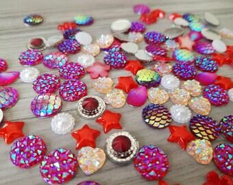 Set of mixed random rhinestones and flatback resins embellishments for scrapbooking, cardmaking RED DARK PINK