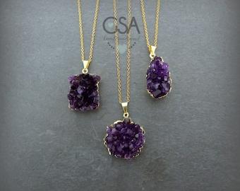 Amethyst Necklace//Durzy Necklace//Raw Amethyst Necklace//Raw Crystal Necklac//February Birthstone//Gemstone Necklace//Amethyst Druzy Stone
