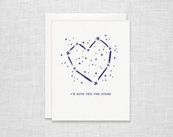 Heart Constellation Letterpress Card - Valentine's Day, Love, Anniversary