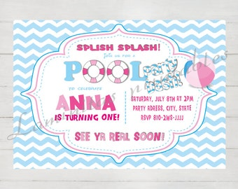 Pool party invitation, winter pool party invitation, Birthday invitation, pool party printables birthday invitation, printed invitations