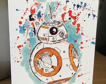 BB-8. Inky Style Greeting Card. A6. PRINT