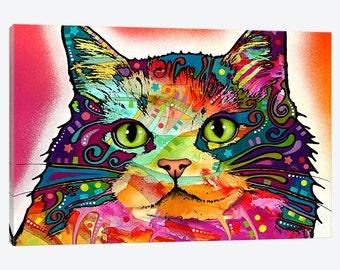 Cat Art Print, Colorful Watercolor Kitten Art Print, Canvas Art Print Unique Colorful Home Office Vet College Wall Decor, Pet Lover Feline