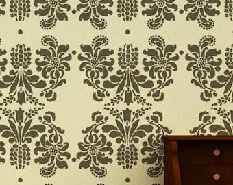 Large Wall stencil ideas,reusable damask Stencil - DIY home decor, DS-02