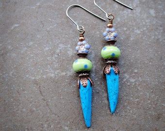Turquoise Earrings, Rustic Earrings, Artisan Lampwork earrings, Tribal Earrings, Long earrings, Gemstone earrings, Bohemian earrings