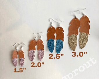 Faux Leather Feather Earrings | Vegan | Dipped