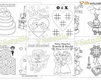 Kids Wedding Activity Coloring Book, Personalized Wedding coloring pages, PDF