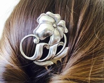 Silver Art Deco Flower Hair Comb Silver Flower Hair Comb Flower Bridal Hair Comb Woodland Wedding Hair Accessories Hair Clip Art Deco H
