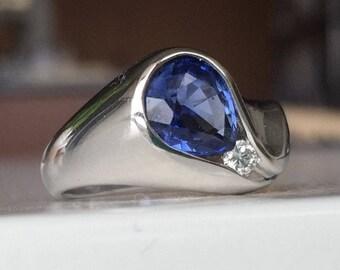 Custom Made Modern Sapphire and Diamond Ring in 14kt White Gold