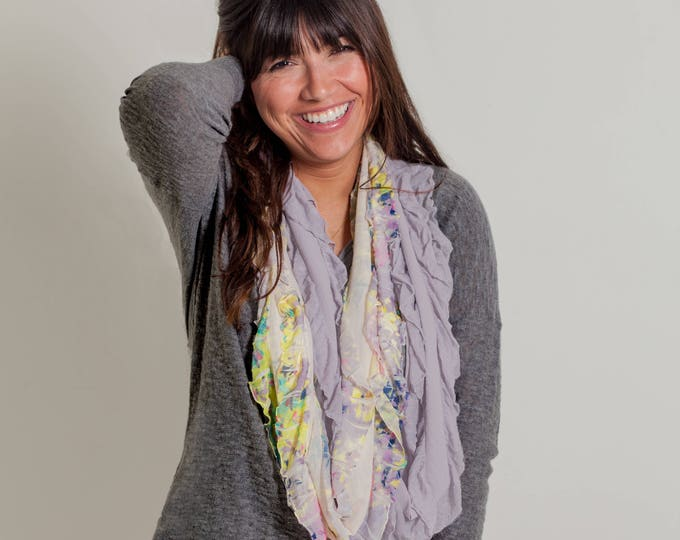 Lavender Floral Infinity Ruffle Scarf