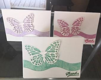 Set of 6, Butterflies over vellum Thank You Cards