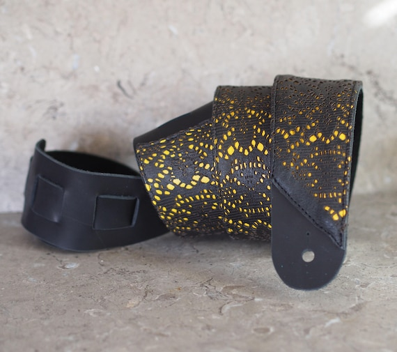 Black Lace over Yellow Leather Guitar Strap