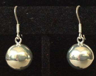 Sterling Silver 14mm Ball Bead Pierced Earrings