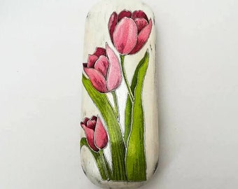 Hard glasses case whit tulips, With tulips, Case with tulips, Hard eyeglasses case, Sunglasses case hard, Eyeglasses case gift, Gift for her