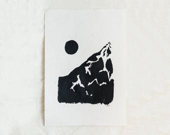 Moon & Mountain Original Abstract Landscape Ink Painting By Britt Fabello