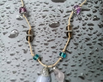Chalcedony and rose quartz necklace