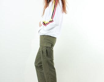 Military Khaki Cotton Pants / Army Pants / Vintage Military Trousers / Camo Pants / Cargo Pants / Scout Pants /  Size S / M