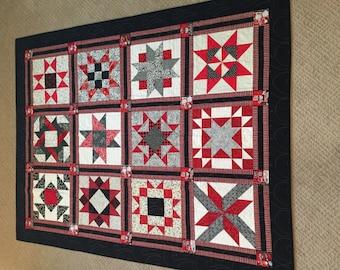 Red, White & Black Quilt, Lap Quilt, Quilted Blanket, Housewarming Gift, Living Room Decor, Elegant quilt, Handmade quilt, Bedroom Decor