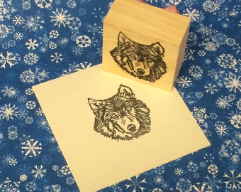 Hand carved rubber stamp - wolf design.