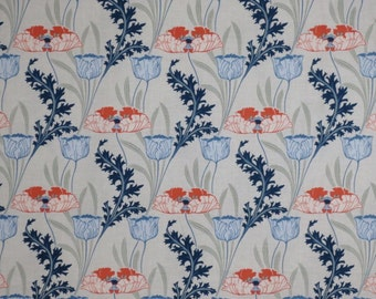 SPECIAL--Soft Blues with Coral Morris Poppy Floral Print Pure Cotton Fabric--BY THE  Yard