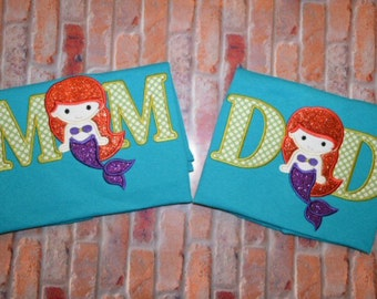 Embroidered Mom/Dad Mermaid Birthday Shirts