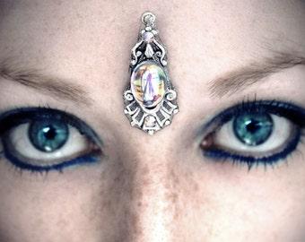 Asteria Bindi, tribal fusion, bellydance jewelry, forehead jewelry, fantasy jewelry, wiccan jewelry, pagan bindi, festival, silver bindi