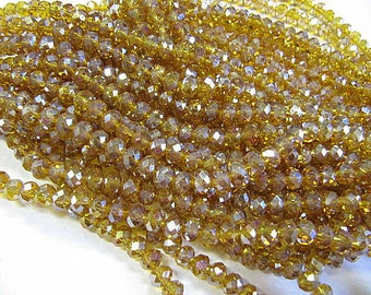 Rondelle Beads, Faceted Crystal Glass, 6mm, Amber AB, Spacer Beads, 50 Piece, Bead Sale, Jewelry Supply, Bead Supply