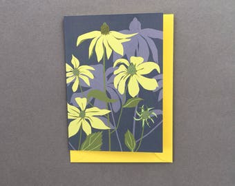 Floral greeting card - Blank note card - Grey and Yellow flower card, Rudbeckia, flower Greeting card, gray floral note card, card for garde