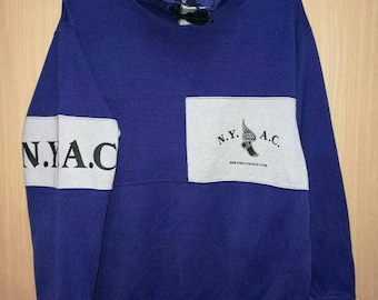Rare!! New York NYAC Spellout Striped Sweatshirt