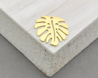 925 Sterling Silver Monstera gold-plated 24K, Monstera Charm, Monstera Pendant, Silver Monstera, silver Monstera