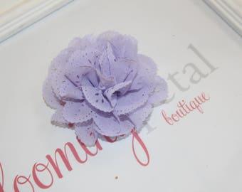 Lavender Eyelet Flower Hair Clips