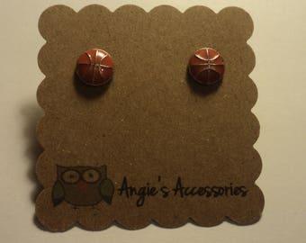 Basketball tiny stud earrings