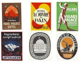 vintage steam trunk labels, a printable digital download, collage sheet no. 328