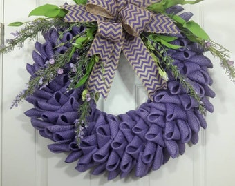 Burlap wreath,Door Wreath,Summer Wreath,purple Wreath,front door wreath,Wreath with burlap
