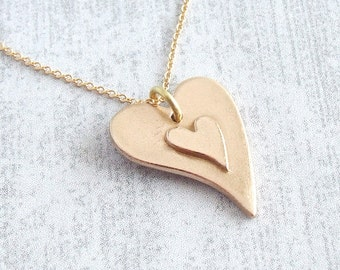 Double Heart Pendant Necklace, Two Hearts Romantic Gift for Her, Girlfriend Necklace, 8th Bronze Anniversary Gift for her, Gold Heart