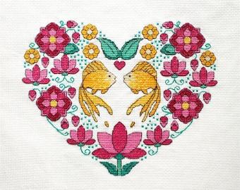 Cross stitch pattern, heart needlepoint, cross stitch wedding, gold fish and lotuses needlepoint