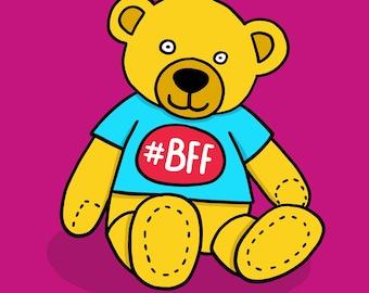 BFF bear card. Funny birthday card.