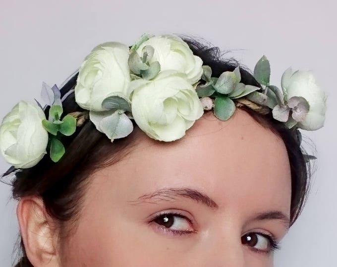 Rustic floral wedding CROWN ivory flower eucalyptus woodland satin ribbon Bridal Hairpiece romantic original first communion wreath