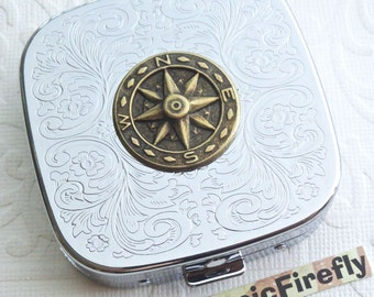 Steampunk Compass Pill Case Steampunk Pill Case Mirror Case Silver Plated Metal Pill Case Gothic Victorian Steampunk Accessories North South