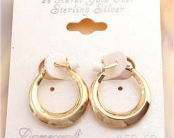 Sterling Silver Vermeil or Vermay Gold over 925 Silver Hoop Earrings 0.925 tall and 0.75 inch wide