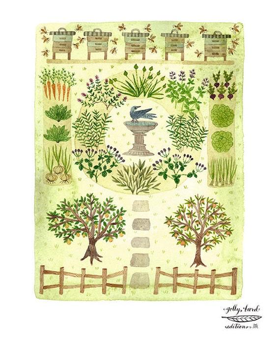 Bee Garden Print Herb Garden Art Orchard Illustration