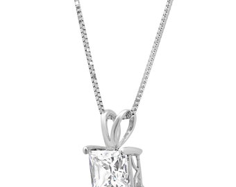 "Gift Gold Pendant For Wife, Gift Gold Pendant, Pendant For Wife, 2.1 Ct Princess Cut 14K White Gold Solitaire Pendant Necklace + 16"" Chain"