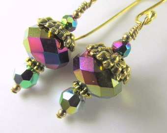 Short Vitrail Medium Earrings with Gold Floral beadcaps on 22k gold Bali earrring wires - Green, Purple, Pink, Blue