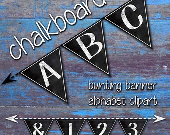 Bunting Banner Alphabet Clipart,  Printable Chalkboard Bunting Banner, Printable Banner Flags, Party Flags,  Letters + Numbers + Punctuation