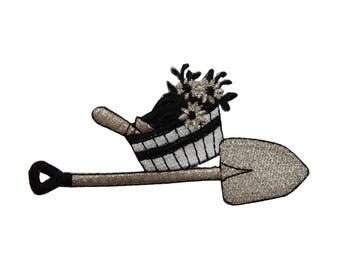 ID 7093 Shovel With Basket of Flowers Patch Garden Embroidered Iron On Applique